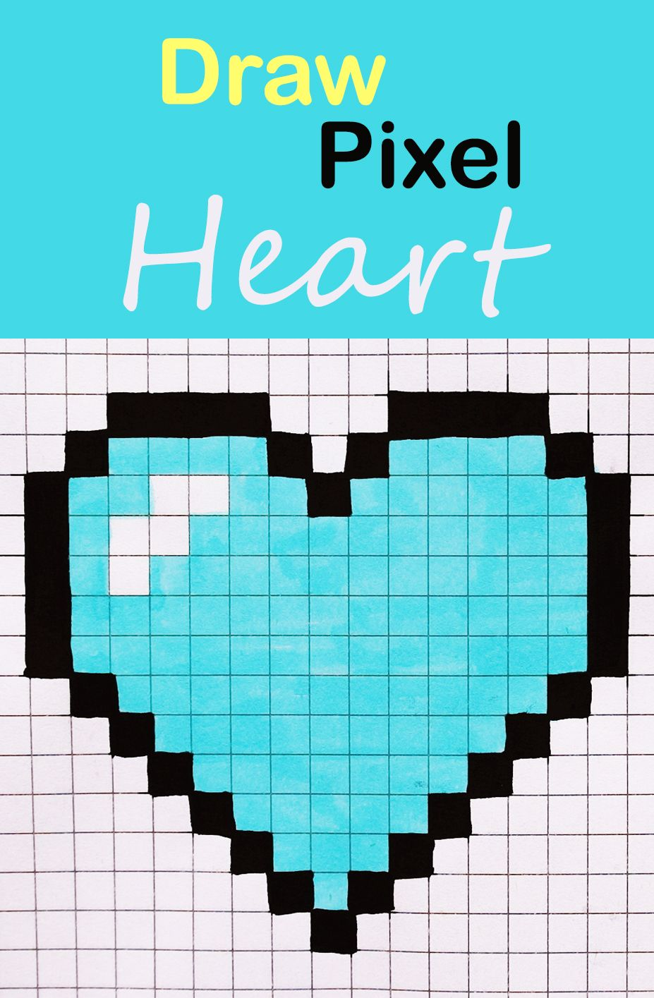 Learn How To Draw A Blue Heart With Pixels Easy Step By