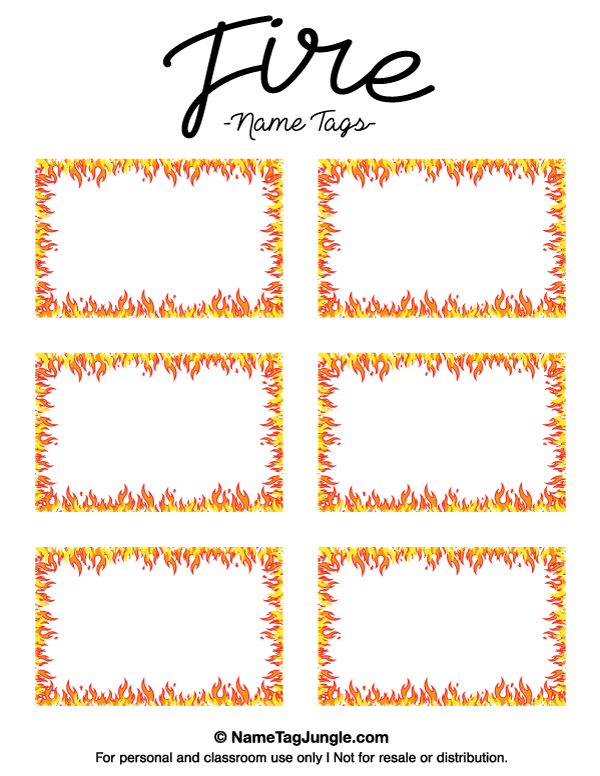 Free printable fire name tags. The template can also be used for ...