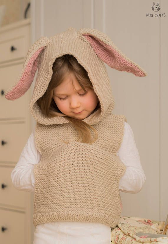 KNITTING PATTERN hooded vest with a pocket and bunny ears Flopsy ...