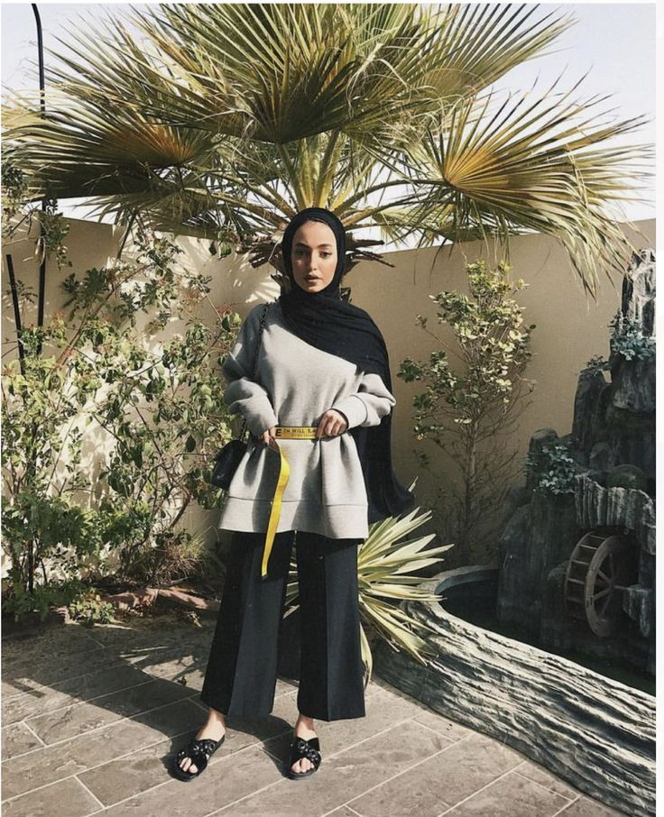 Photo of off white black and grey hijab outfit