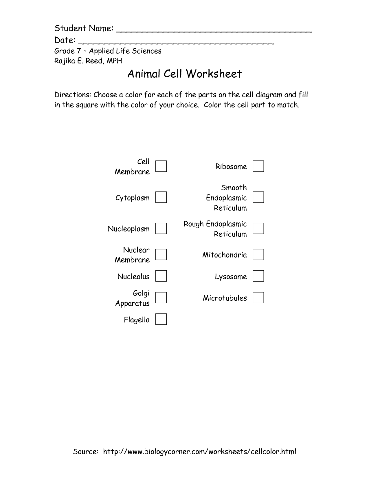 worksheet Seventh Grade Science Worksheets 7th grade printable plant and animal cell applied life sciences rajika e