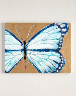 "H7HAH Jennifer Moreman ""Evelyn"" Blue Butterfly Print"