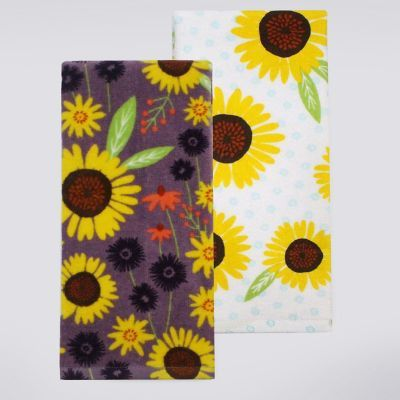 Celebrate Fall Together Purple Sunflower Kitchen Towel 2 Pk.