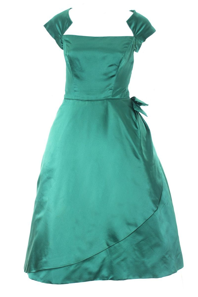 Philip Hulitar 1950s Vintage Green Satin Dress with Bow and ...