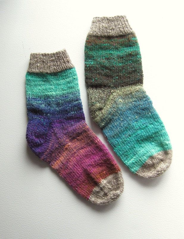 Jewels Colour Block Hand Knit Women\'s Socks Size 7.5 - 8 - 8.5