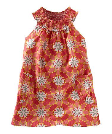 Take a look at this Pink Amaryllis Floral Shirred Yoke Dress - Infant & Girls by Tea on #zulily today!