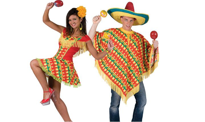 Mexican Poncho Dress Sombrero Hat Ladies Fancy Dress Wild West Adults Costume