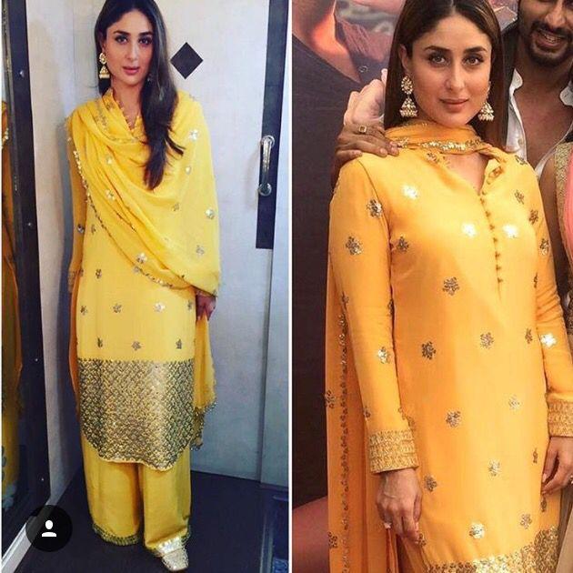 Mango Yellow Colour Of Spring Kareena Kapoor Khan In Pakistani Salwar Suit Gold Ensembles Jhumkies Just Complete Fashion Clothes Design Bollywood Fashion