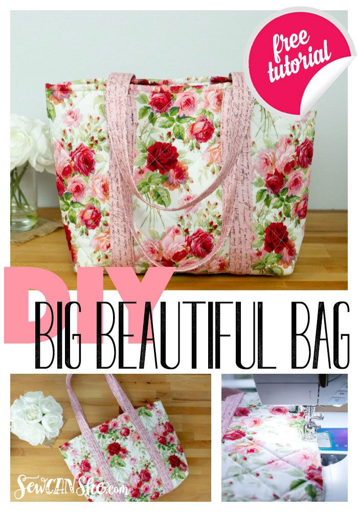 Sew Easy Big Tote Bag  free sewing tutorial - Stuff to buy, Places to visit, Projects to try, Things to wear, Recipes to cook, Ideas for the house - I'm so excited to share with you a super easy, super gorgeous bag that is soooo fast to sew  I made this bag in just a couple hours, and I was taking pictures along the way!