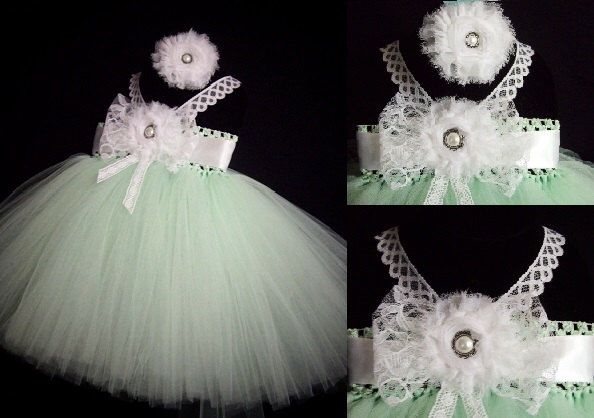 A personal favorite from my Etsy shop https://www.etsy.com/listing/225749058/mint-white-lace-flower-girl-dress-w
