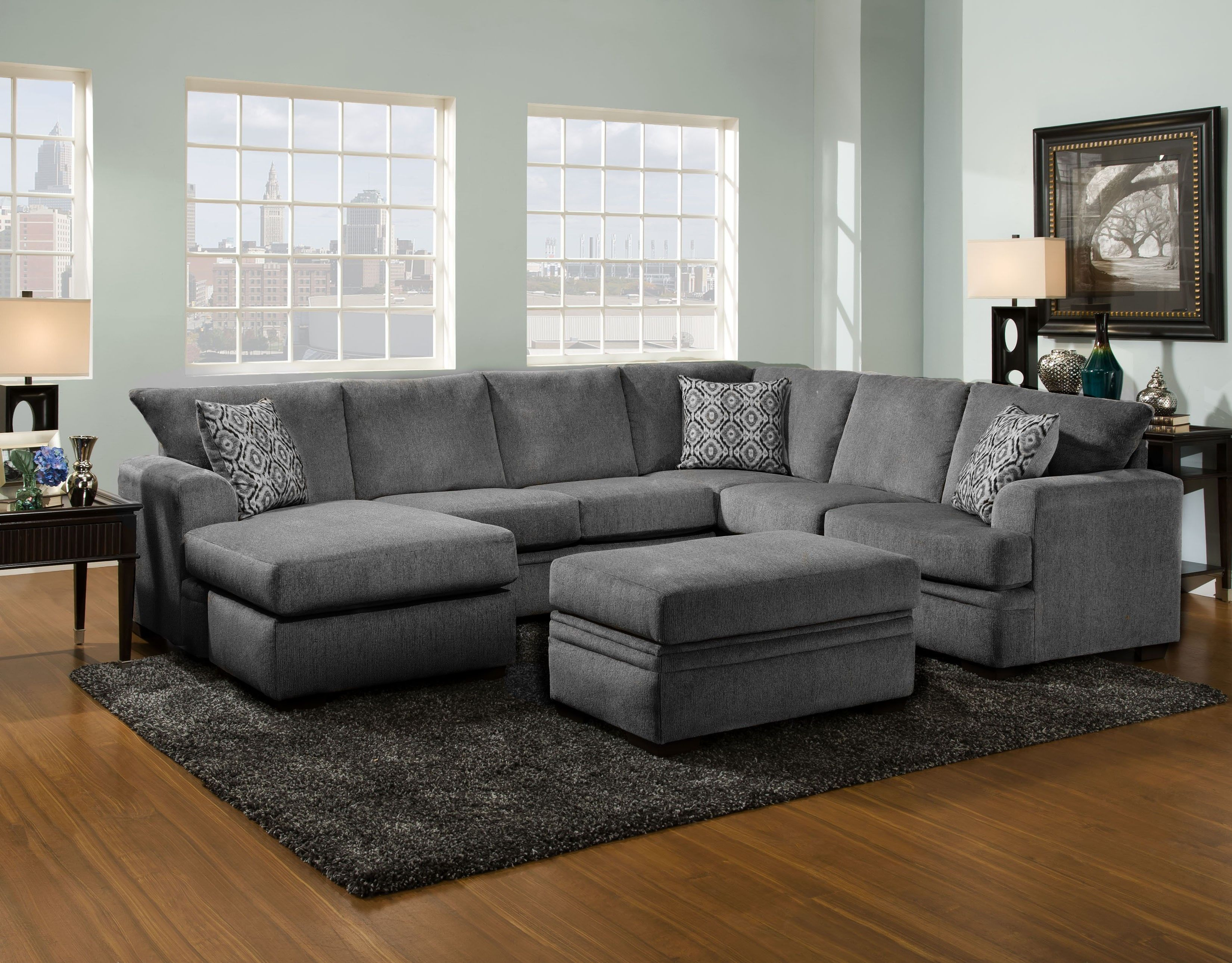 6810 Oversized Chaise Sectional Cornell Pewter