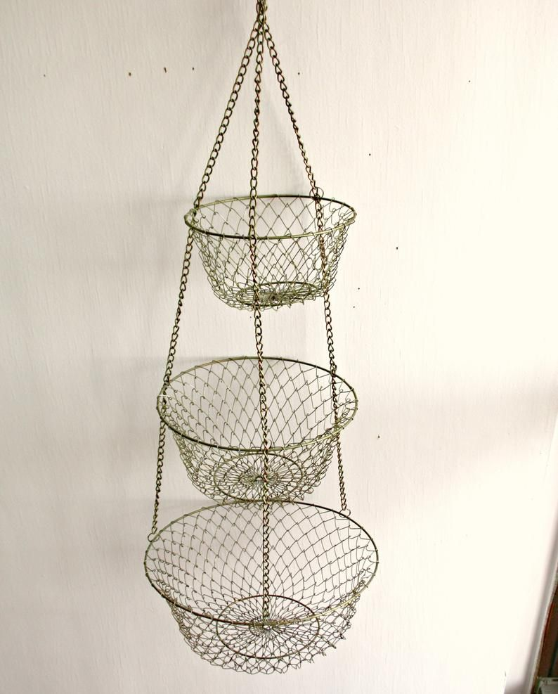 Hanging Metal Wire Basket 3 Tier Produce Basket In Aged Brass Etsy Produce Baskets Wire Baskets Metal Wire