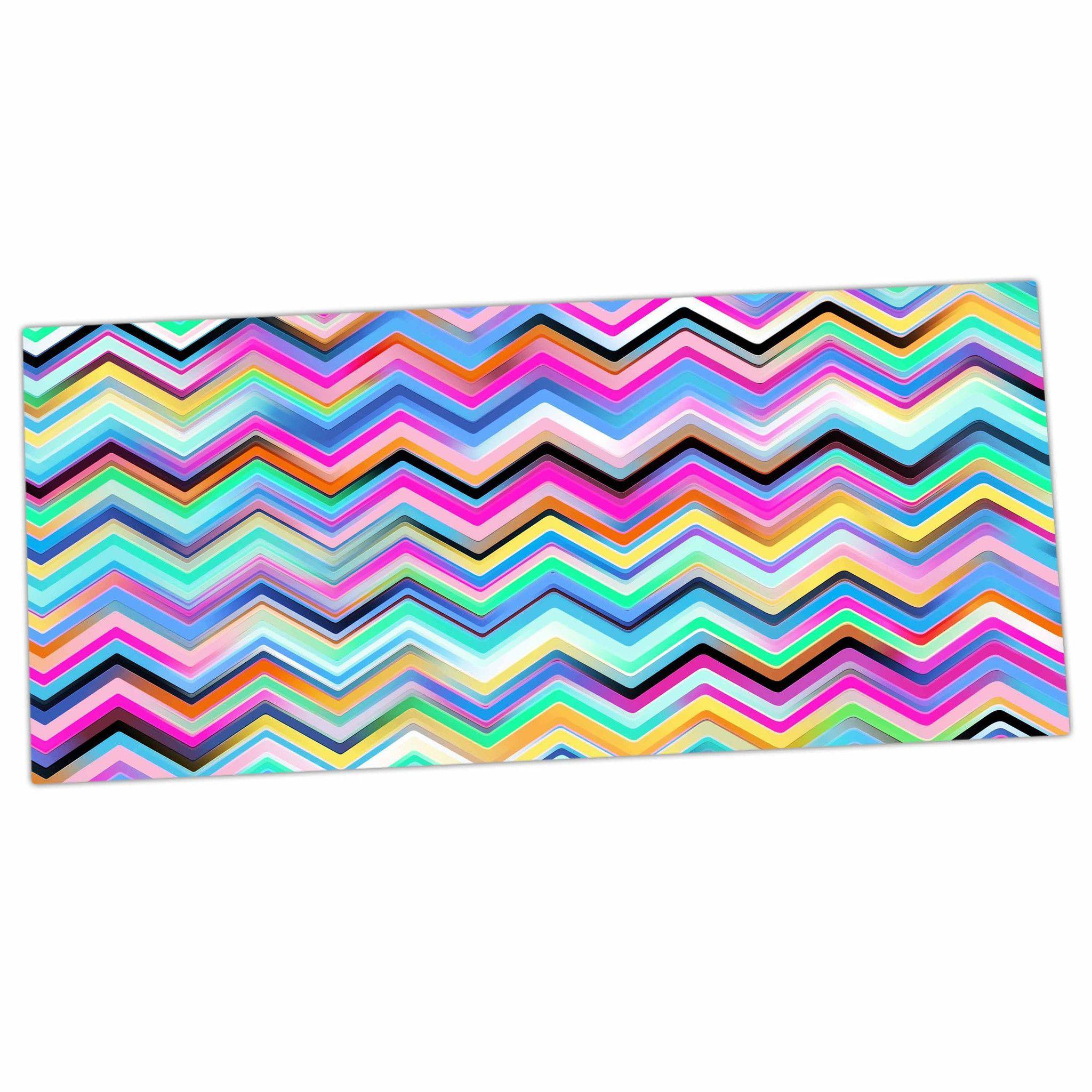 "Dawid Roc ""Colorful Rainbow Chevron"" Multicolor Blue Desk Mat"