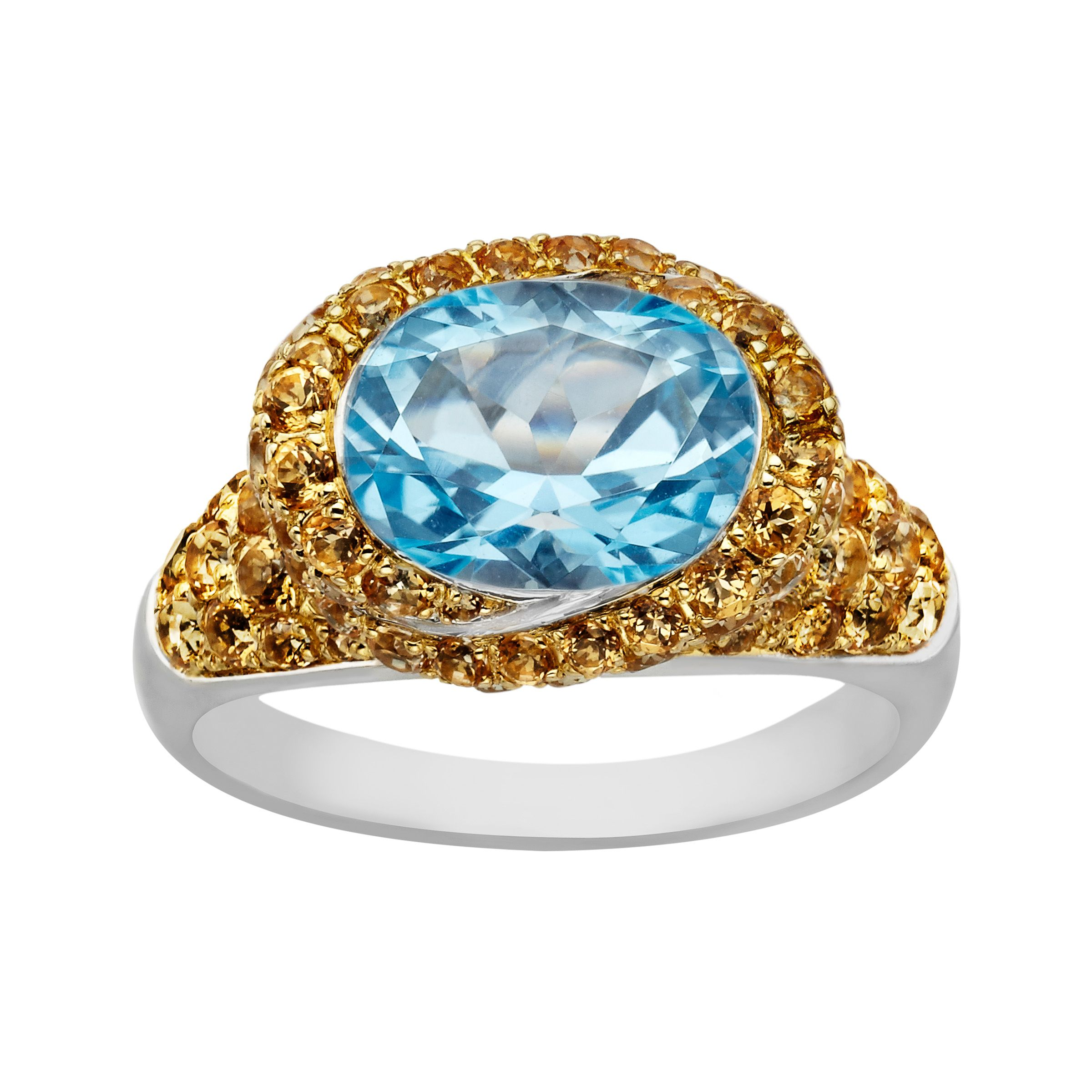 3 5/8 ct Swiss Blue and Honey Topaz Ring in Sterling Silver from Jewelry.com: From our 'Rainbow Topaz' Collection: Dazzling natural honey…