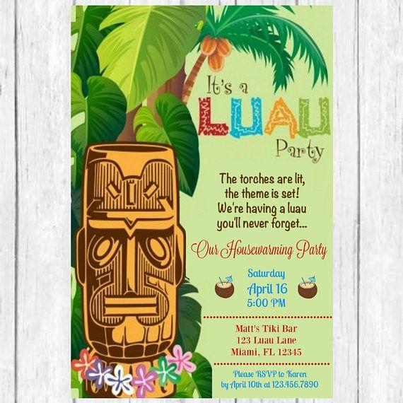 Housewarming Luau Party Invitation Invite Home Sweet Ti