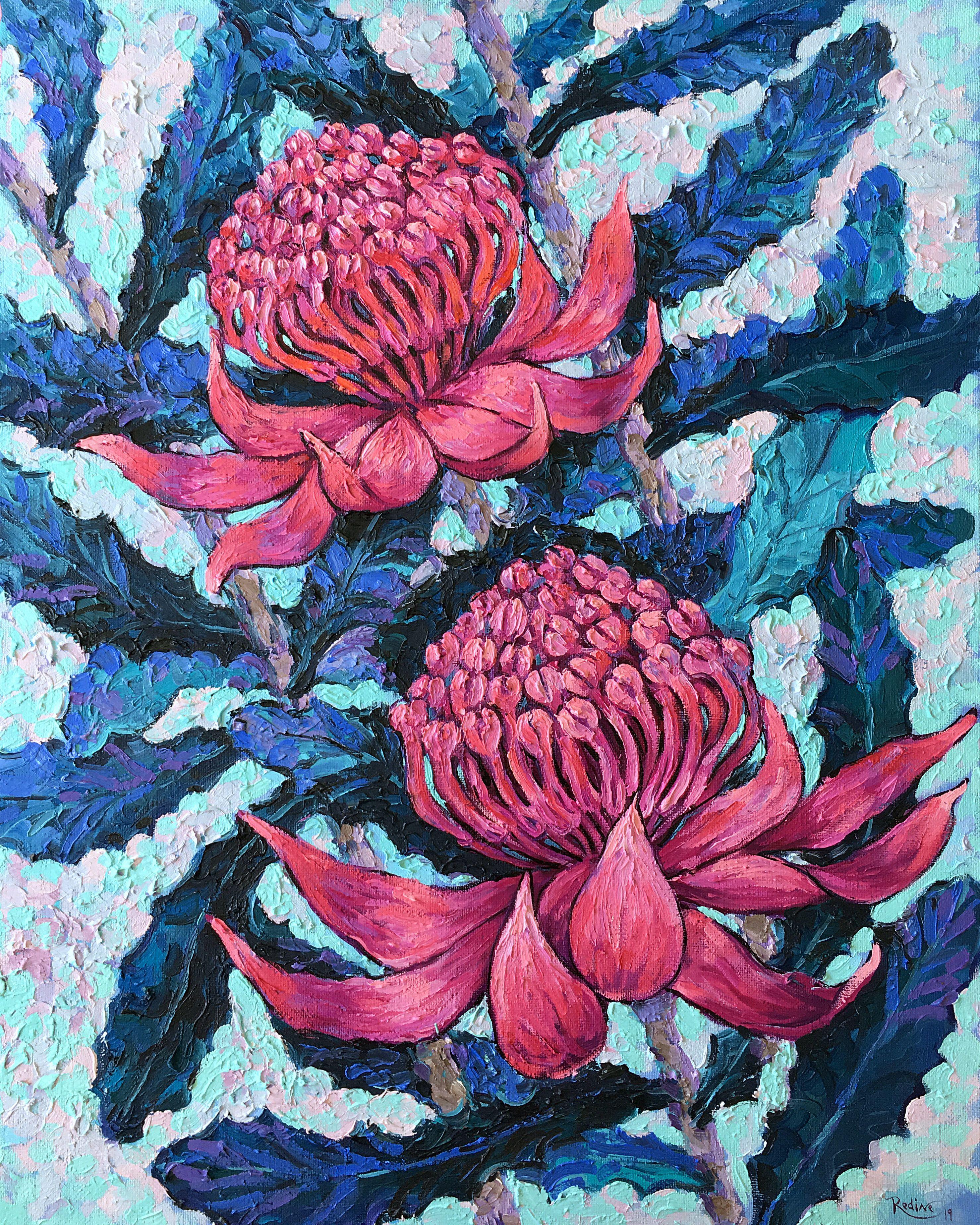 Purple Waratah Flowers by Irina Redine Original oil