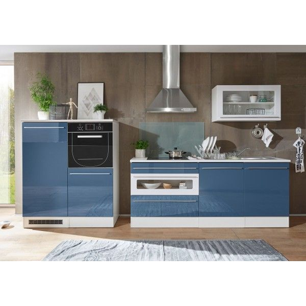 Küchenzeile Küchenblock blau weiss hochglanz tiefgezogen  weiss - küche hochglanz oder matt