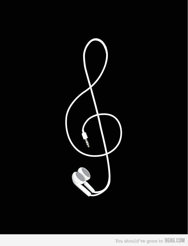 f55d2c49280f Treble Clef.  music  headphones  art  black  white  treble  clef