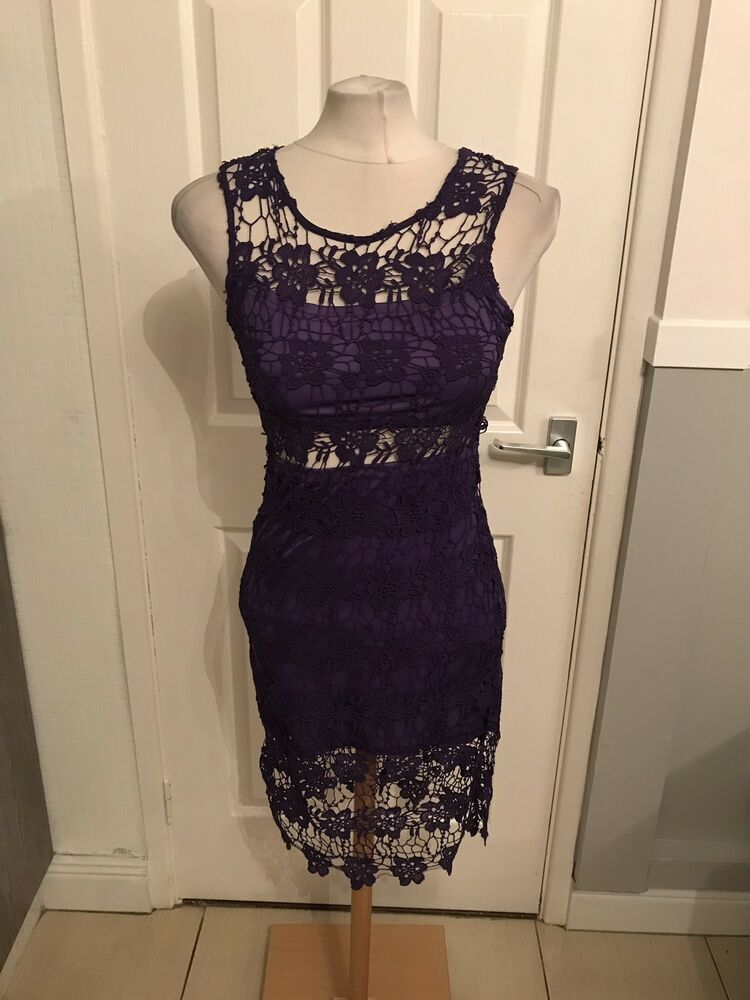 bafcb65a Ladies Purple Lace Look Floral Design Dress Size 8 Exhibit BNWT #fashion # clothing #shoes #accessories #womensclothing #dresses (ebay link)
