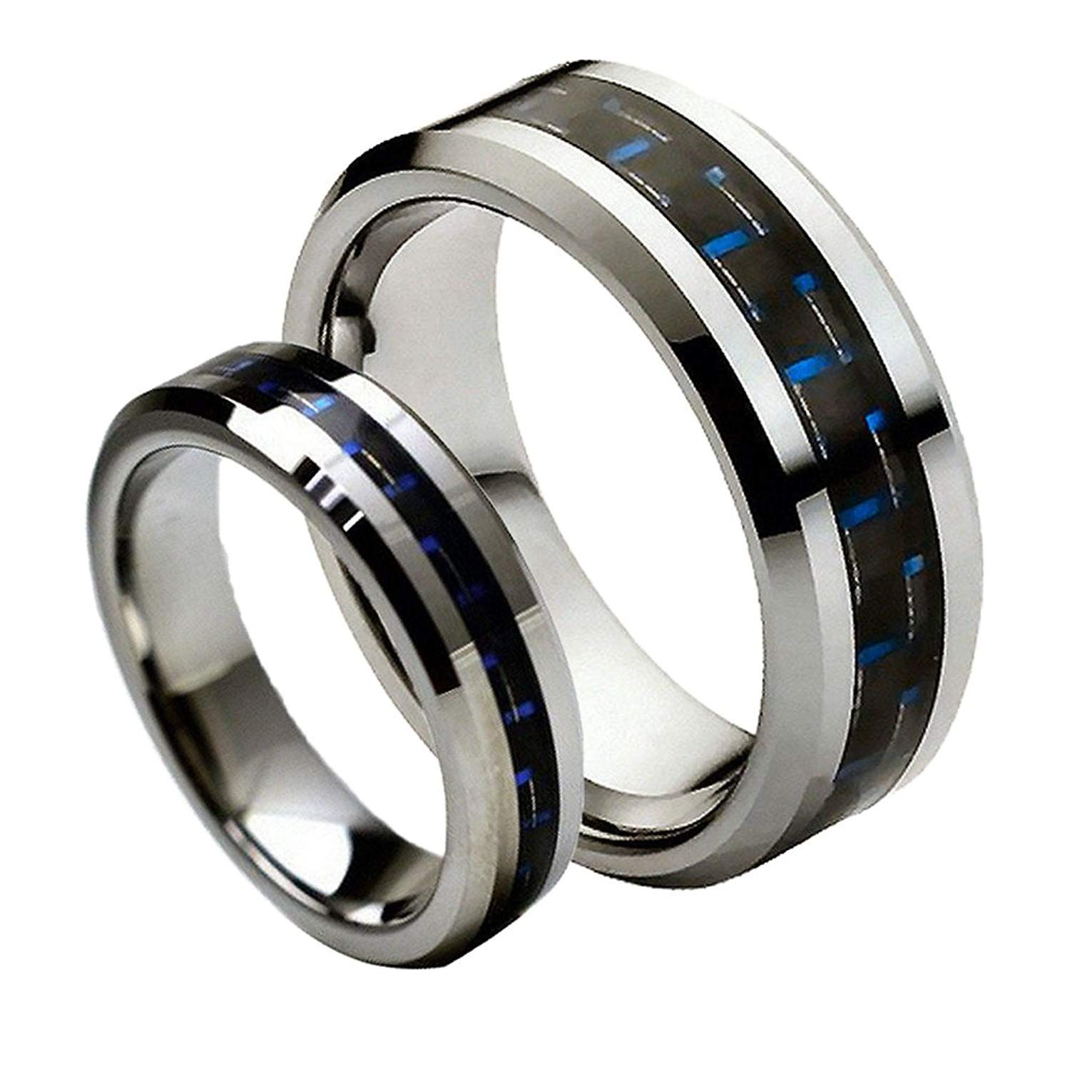 For Him and Her 8MM/6MM Tungsten Carbide Beveled with