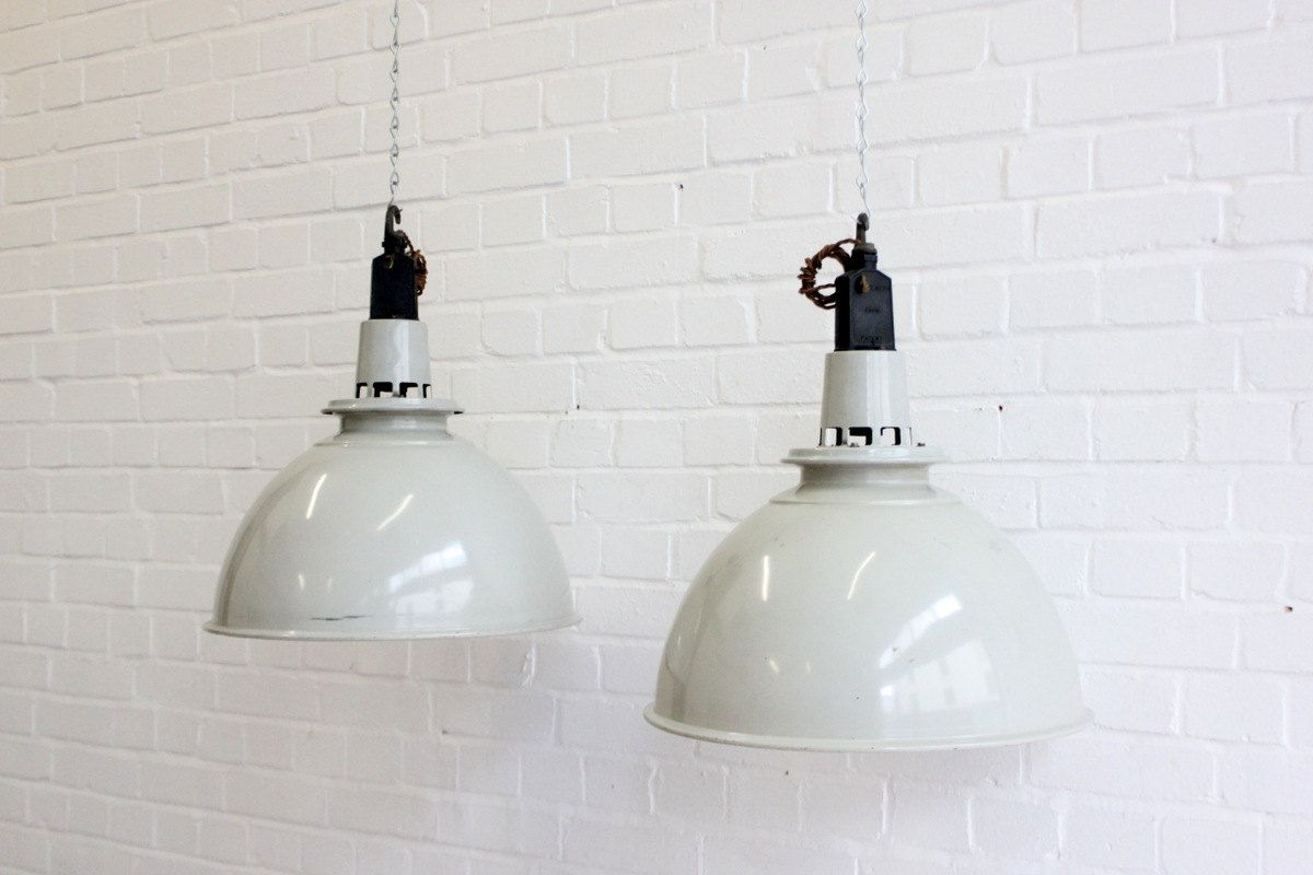 Large industrial mushroom grey pendant lights by by ottosantiques