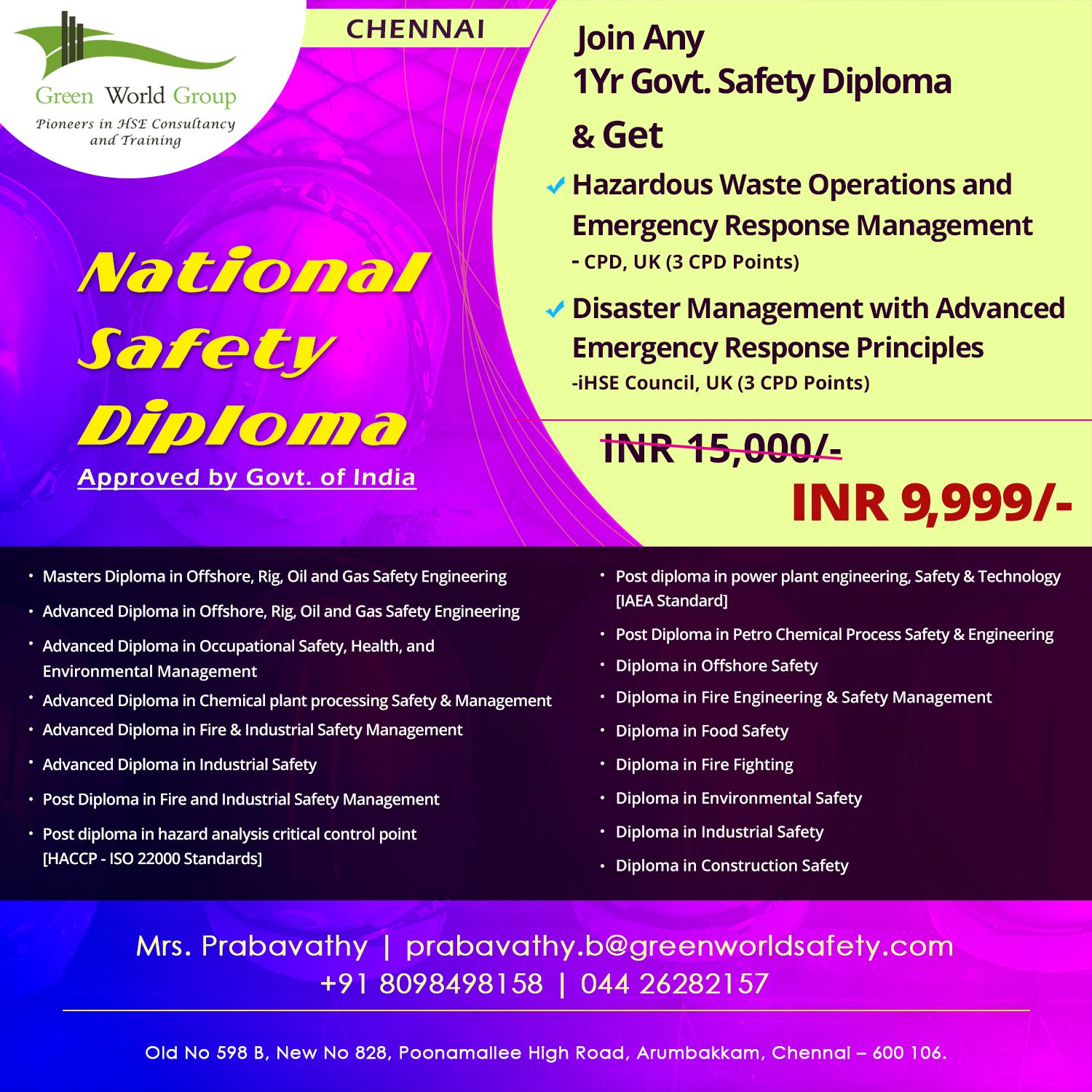 National Safety Diploma Course in Cochin National safety