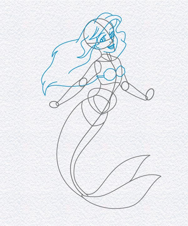 How to Draw Ariel, The Little Mermaid | Doodleberry Patch ...