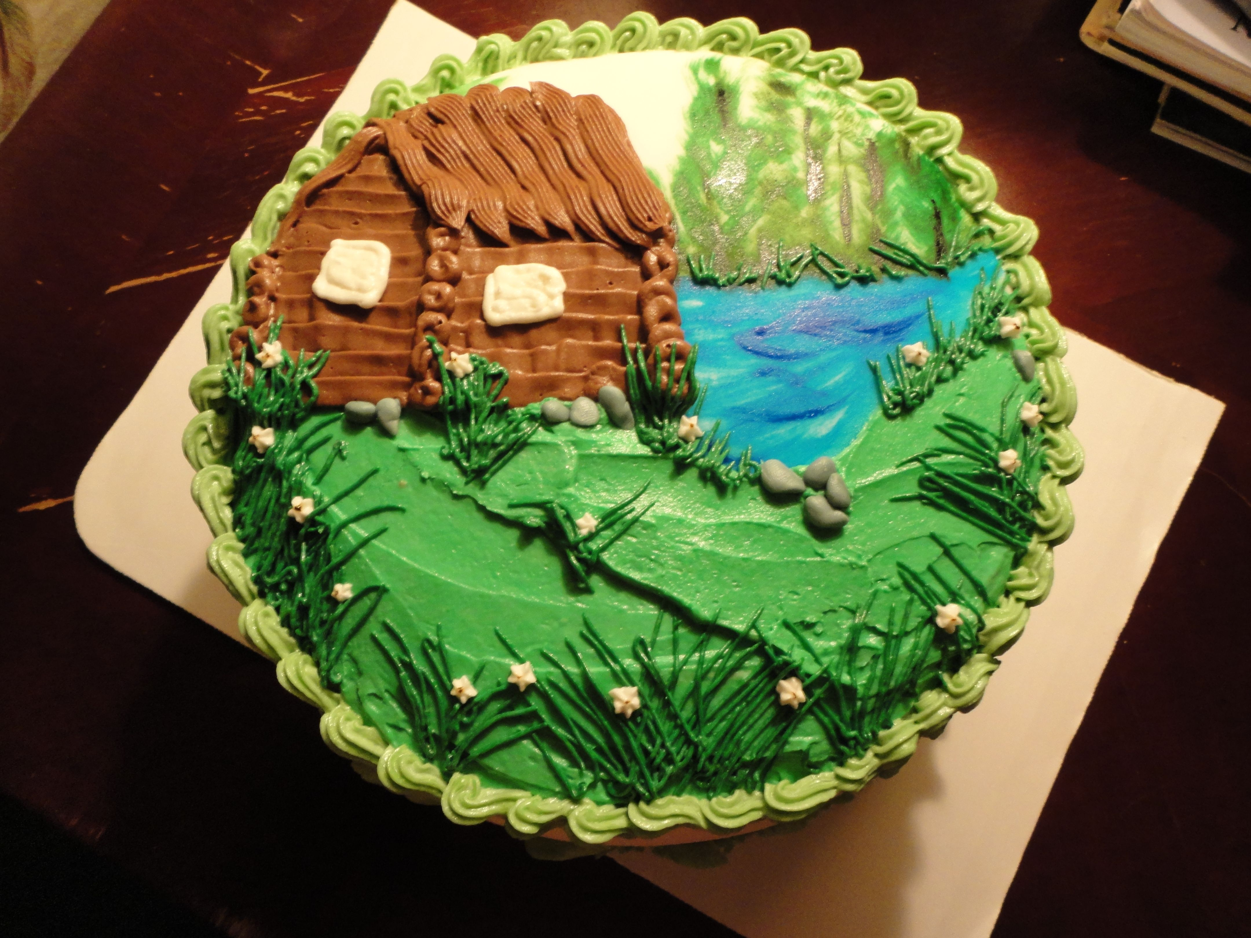 Cabin Lake Outdoor Nature Cake Camping Cakes Piano Cakes