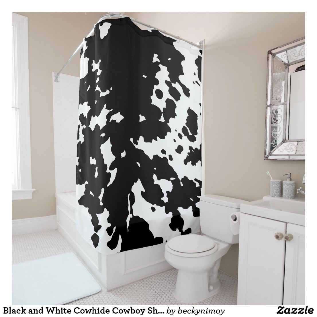 Black And White Cowhide Cowboy Shower Curtain