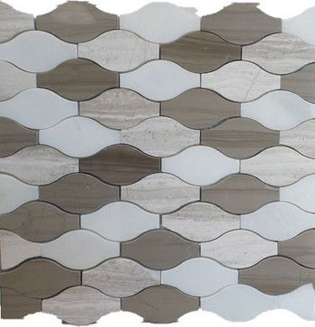 Wave Pattern Marble Mosaic Tiles 12 X12 Mix Wooden Grey And White Dark Bro Contemporary Tile Gl Stone Ltd
