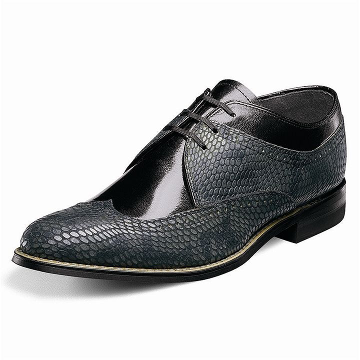 Stacy Adams Dayton Black Kidskin Leather Wing-Tip