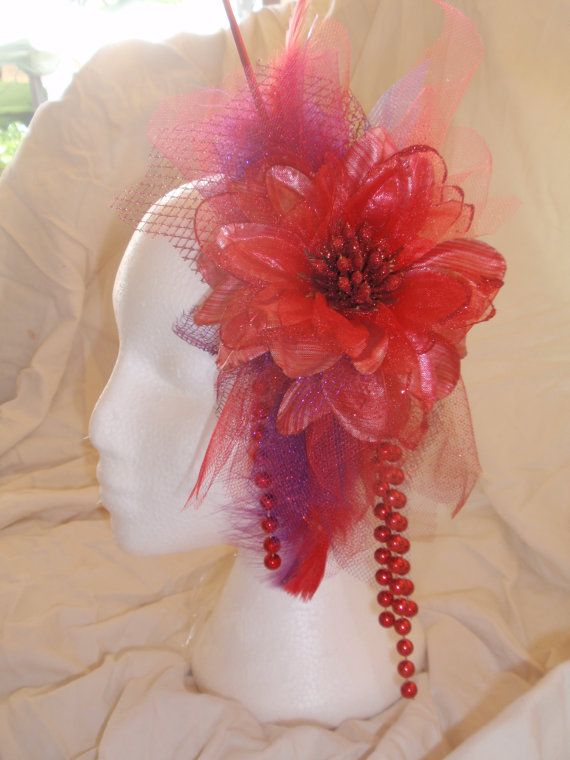 Stylish Red Headband/Headdress/Fascinator by TheBlueEyedDog, $40.00