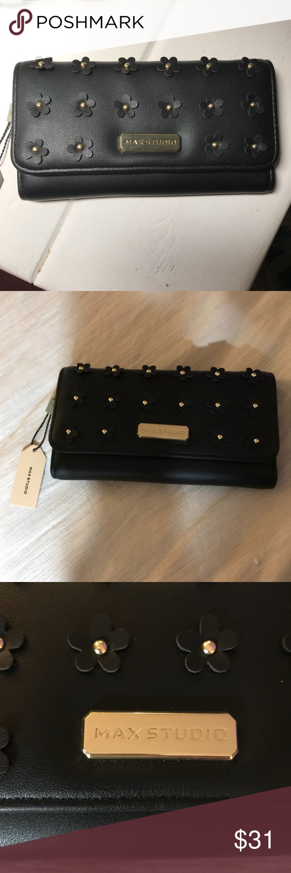 Max Studio Trifold wallet with flowers Cute black leather