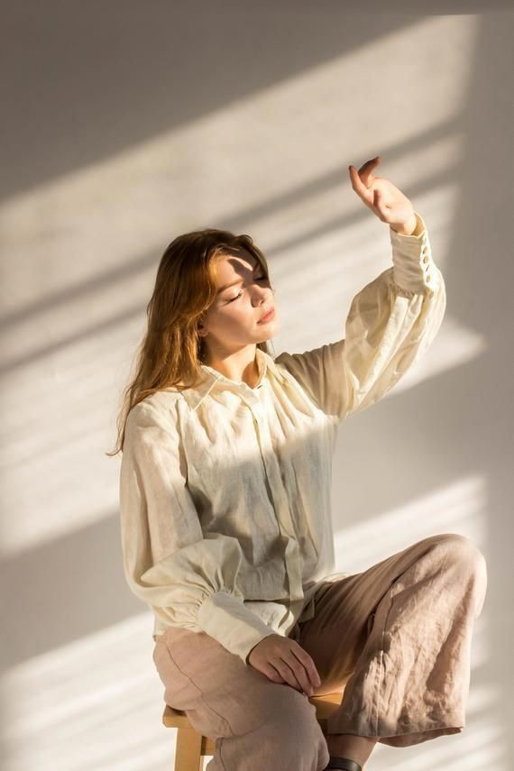 Photo of LINEN BLOUSE victorian button classic collar linen shirt