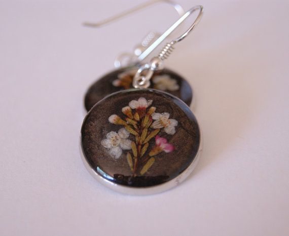 cea80ce3c Real Dried Flowers, Pressed Flowers Jewelry, Resin Earrings, Australian  Flower, Geraldton Wax, Ocean Petals, Botanical Earrings