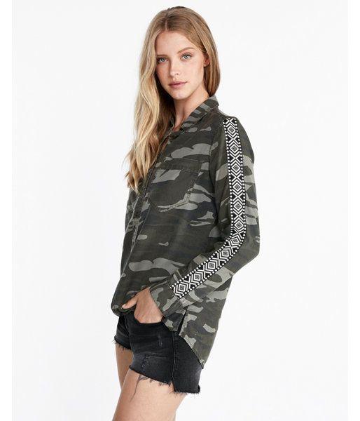 2e2c1d39 Camo Side Stripe Silky Soft Twill Boyfriend Shirt Camo Women's XXS ...