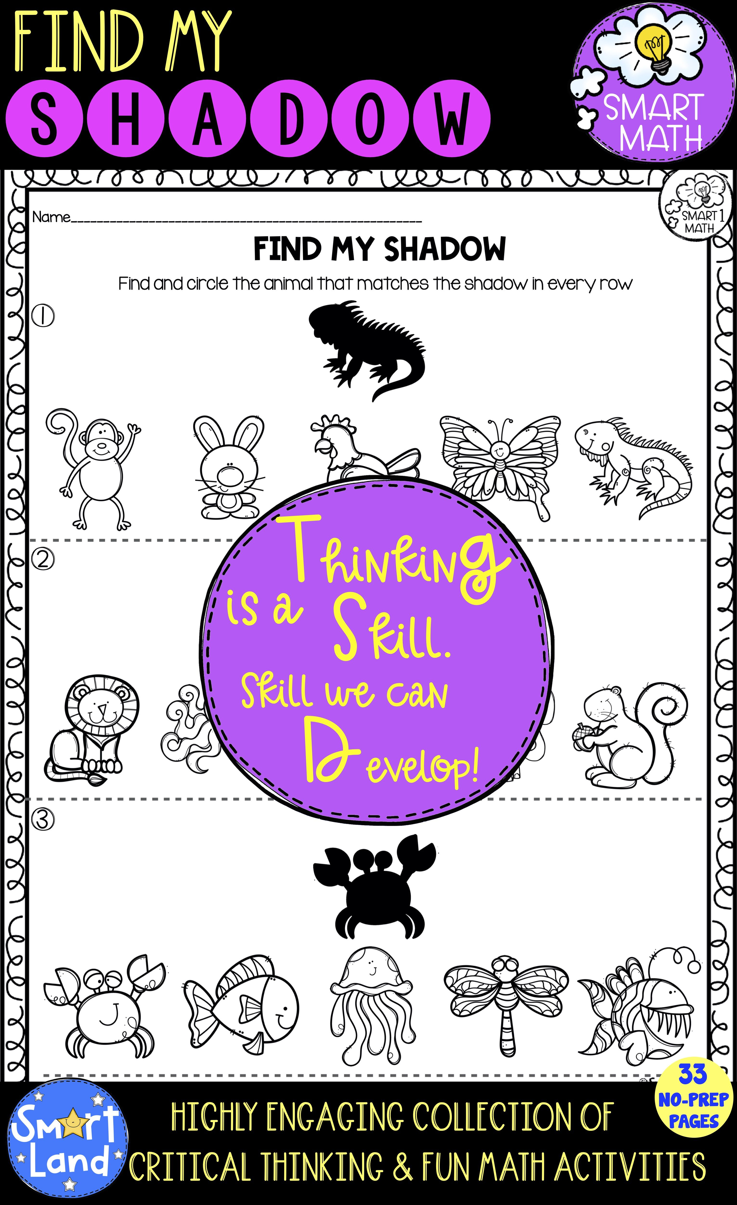 Find My Shadow Worksheets Critical Thinking Practice