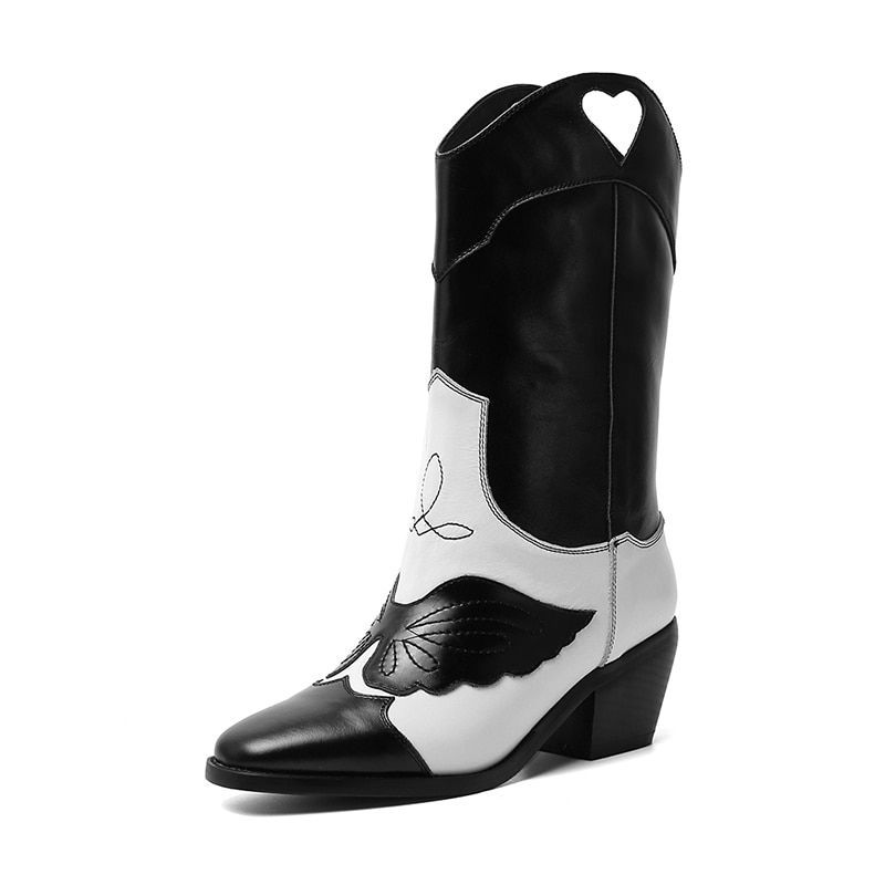 #coolulu #winter #classic #western #cowboy #boots #women #pointy #toe #leather #cowgirl #square #heels #shoes #woman #mid-calf #shoes