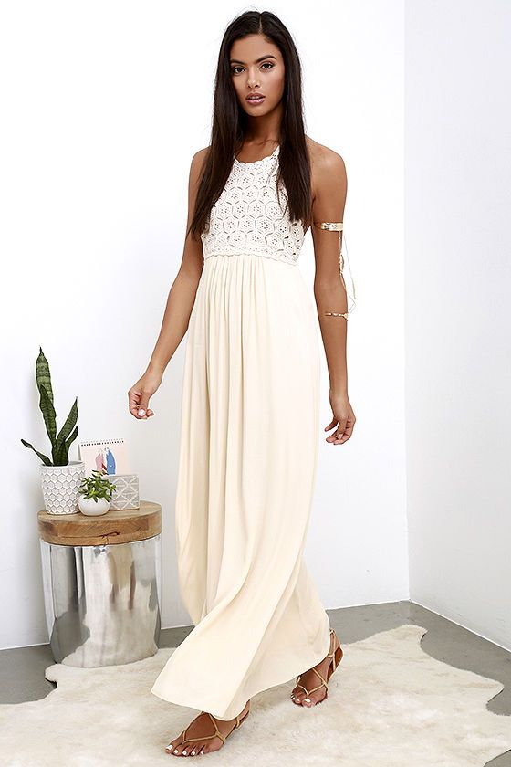 d00615b40007 This season is all about relaxing in style, so do it right in the Beyond  Beautiful Beige Crochet Maxi Dress! A lovely crochet bodice has an open  back with ...
