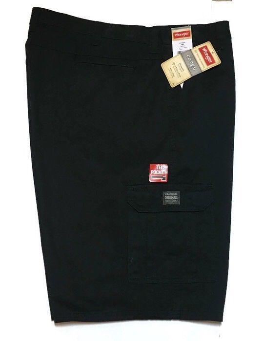 fc9df7b1 Wrangler Cargo Shorts 46 x 10.5 Relaxed Fit Black Tech Pocket Utility New # Wrangler #Cargo