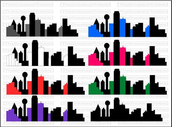 Dallas City Skyline Silhouette Svg Png Jpg Eps Vector Clip Art Etsy City Skyline Silhouette Skyline Silhouette Silhouette Architecture
