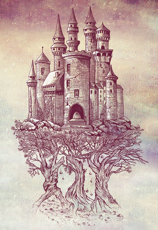 Poster Castle In The Trees Von Rachel Caldwell Burg Tattoo Fantasieschloss Schlosszeichnung
