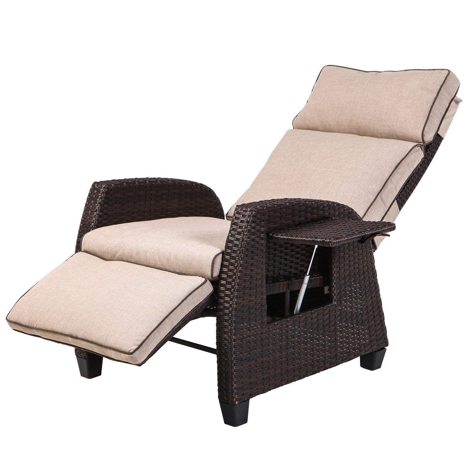 Lch Adjustable Recliner Relaxing Sofa Chair Outdoor Wicker Furniture Aluminum Frame Lounge With Beige Soft Thicken Cushions Porch Backyard Pool Or Garden In 2020 Lounge Chair Outdoor Outdoor Recliner Outdoor Wicker Furniture