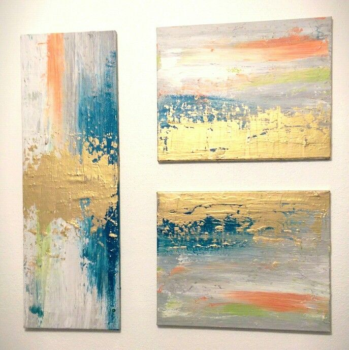 Diy abstract art use spackle for texture, then start painting ...