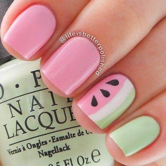 uñas cortas faciles sandia | Uñas cortas / Short Nails | Pinterest ...