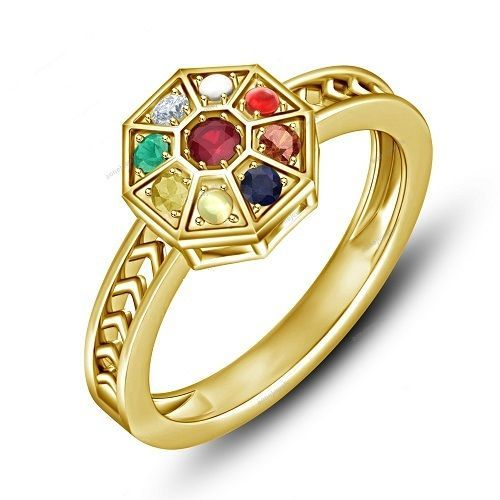Navagraha Multicolor stone Yellow Gold Finish Navratna Women s