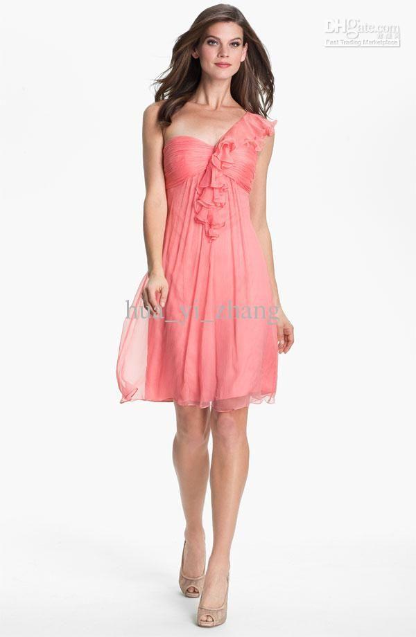 Wholesale 2013 Beach Bridesmaid Dresses Short A Line Coral Chiffon ...