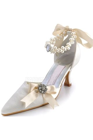 03be0ce34632 Satin Stiletto Heel Pointy Toe Pumps With Imitation Pearl   Bowknot Wedding  Satin upper Mid Heel Pumps Closed-toes With Rhinestone Wedding Bridal Shoes  ...