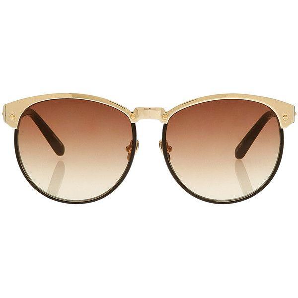 9e16111e9d42 LINDA FARROW LUXE Gold Top Rim Sunglasses (760