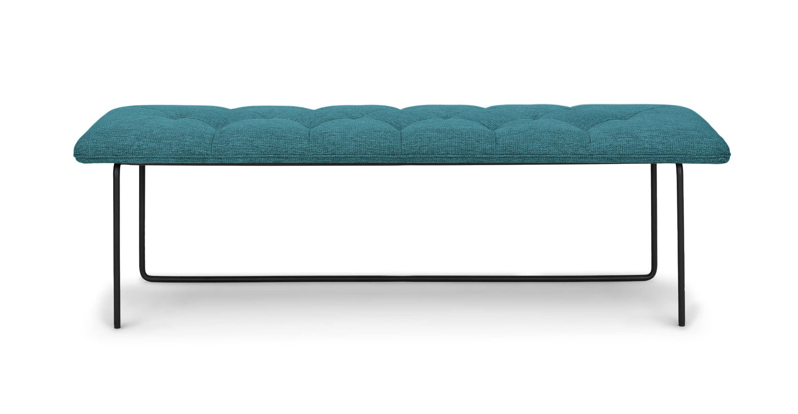 Turquoise Tufted Fabric Bench, Metal Legs   Article Level Modern Furniture is part of Living Room Chairs Benches - Light and breezy  The Level bench's comfy tufted seat invites ongoing conversation  Set atop unique curving powdercoated steel legs, the Level bench brings architectural interest to your space  Style it in your foyer, or pull it up to the dining table for a fun, multiperson seat at the table
